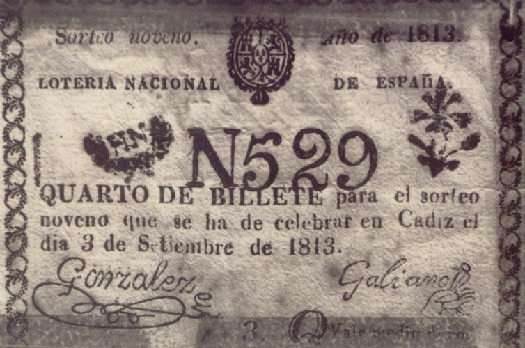 Cuarto de billete de Lotería Nacional-1813.jpg